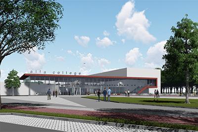 Alfa College Hoogeveen uithangbord van circulair bouwen en leerlingen werken mee